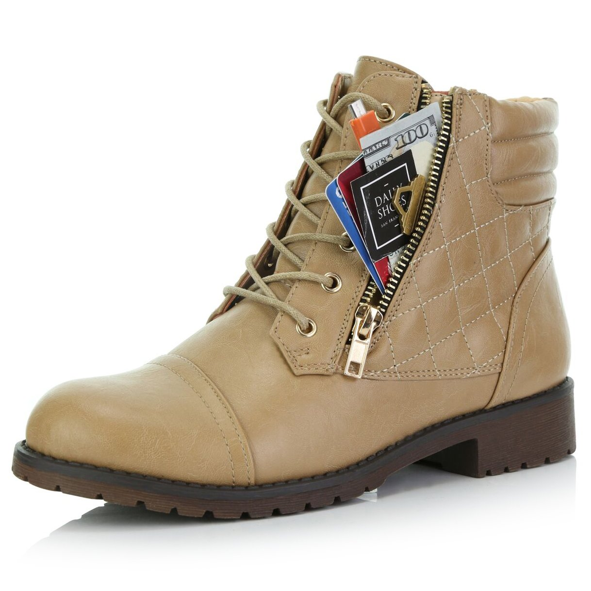 DailyShoes Women's Military Lace up Buckle Combat Boots Ankle High Exclusive Quilted Credit Card Pocket Bootie B015TTIEJA 8.5 B(M) US|Beige Pu