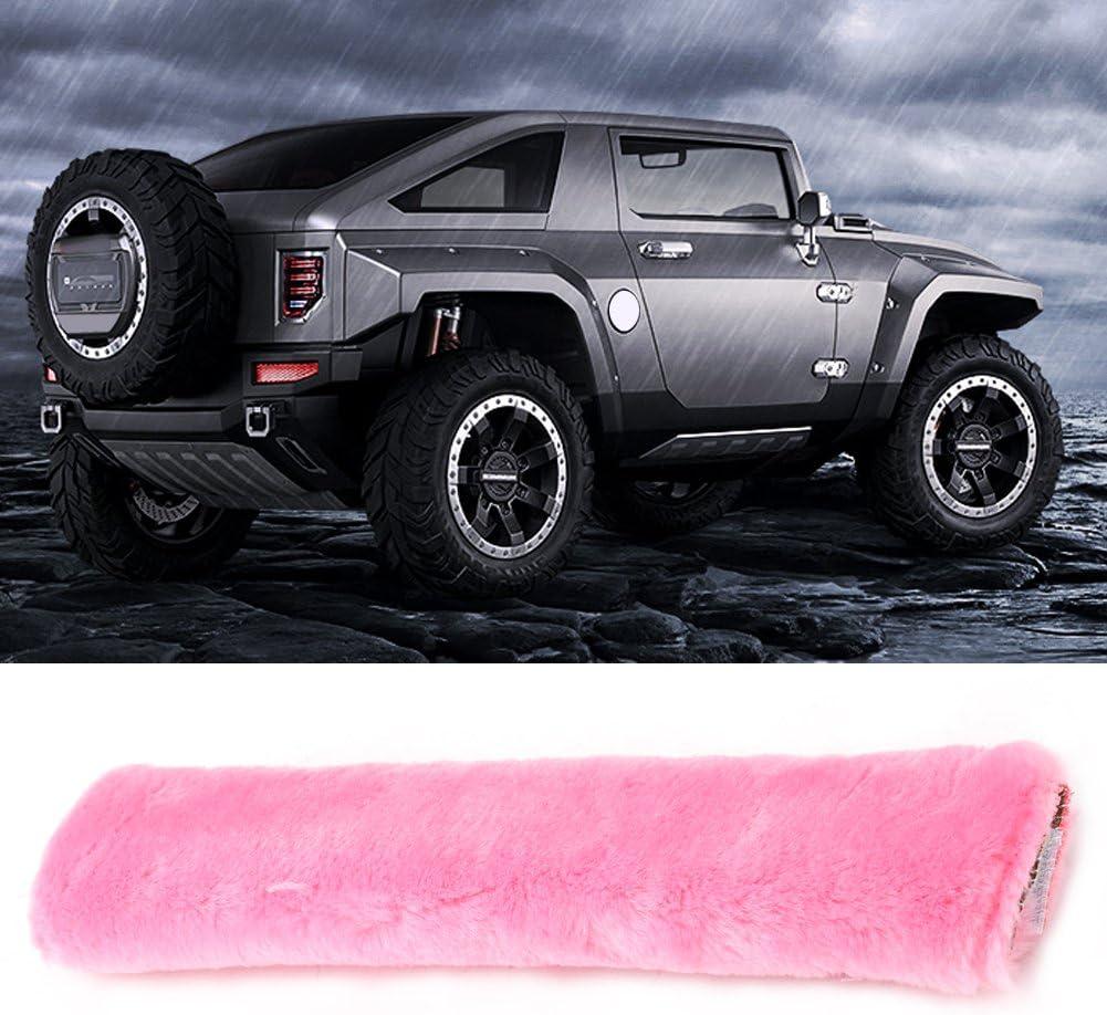 Pink Qiilu QL04187 2pcs Plush Car Safety Seat Harness Cover Strap Wrap Belt Soft Shoulder Pad