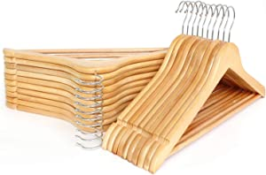 Wooden Hangers Smooth Finish Solid Wood with Non-Slip Pants Bar 360 Degree Swivel Hook Cut Notches Wood Hangers(30 Pack, Natural)