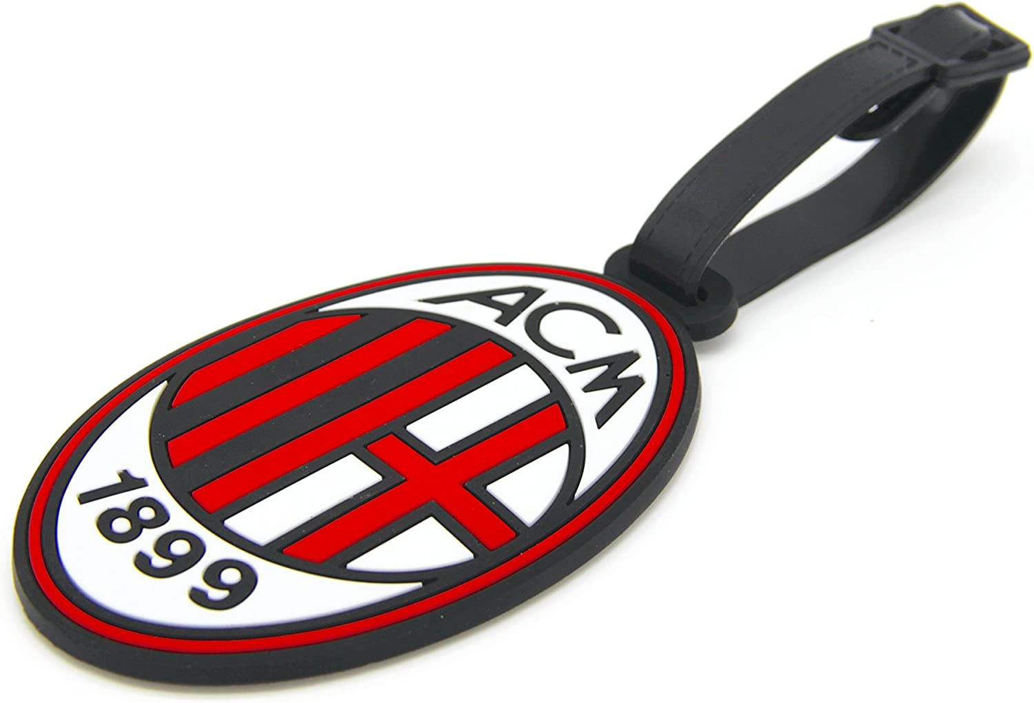 CellDesigns Set of 2 Soccer Team Football Club Luggage Tag Suitcase ID Tag with Adjustable Strap (A.C. Milan)
