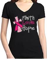 Shop4Ever Faith Love Hope Women's V-Neck T-shirt Breast Cancer Awareness Shirts