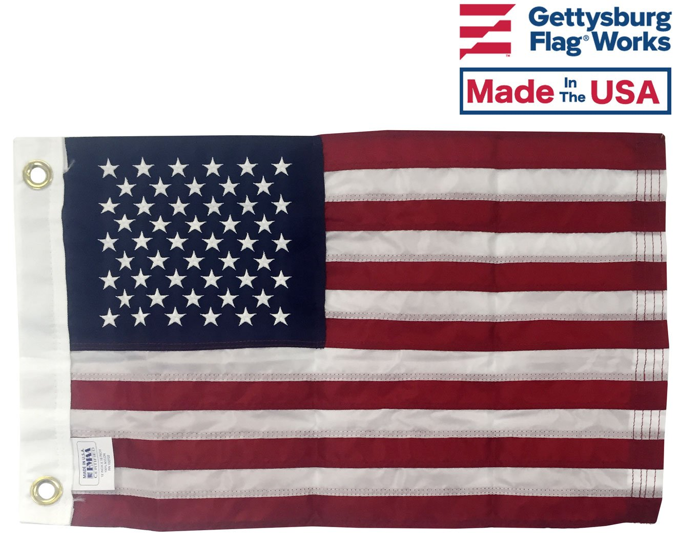 12x18'' American Boat Flag - Marine Grade US Flag, Embroidered All Weather Nylon with Reinforced Stitching - for outdoor use, Made In USA