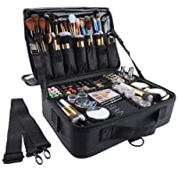 GZCZ 3 Layers Large Capacity Travel Professional Makeup Train Case makeup bag Cosmetic Brush Organizer Portable Artist Storage bag 13.4 inches with Adjustable Dividers and shoulder strap