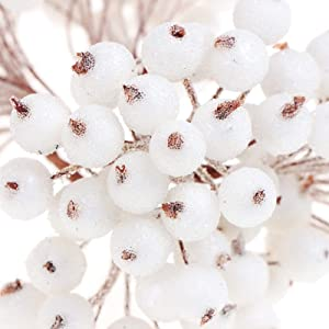 400 Counts Artificial Holly Christmas Berries on Wire Stems for Christmas Tree Home Wedding Party Decor DIY Craft Ornaments (Assorted Colors)