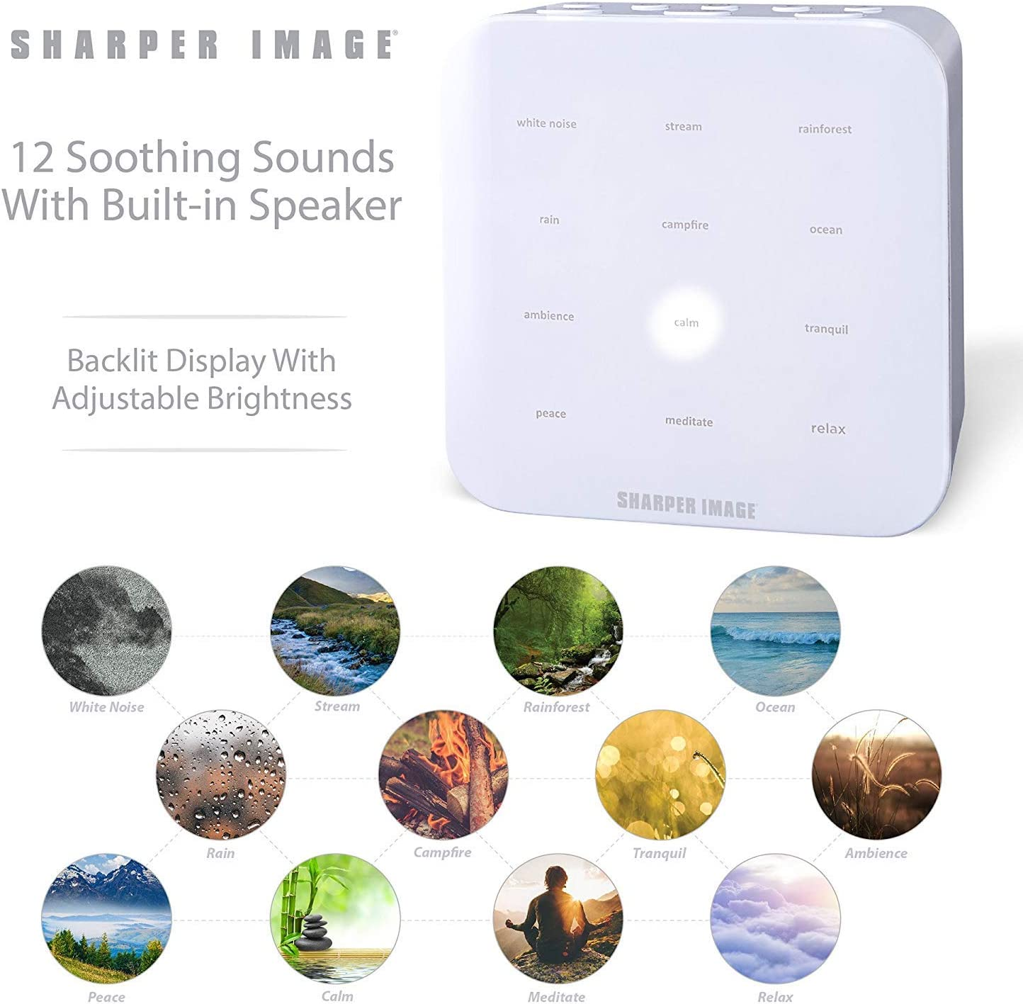 Soothing Musical Machine for Stress /& Anxiety Relief SHARPER IMAGE Ultimate Sleep Sound Machine for Adults /& Kids Promotes Healthy Sleeping Pattern with Relaxing White Noises