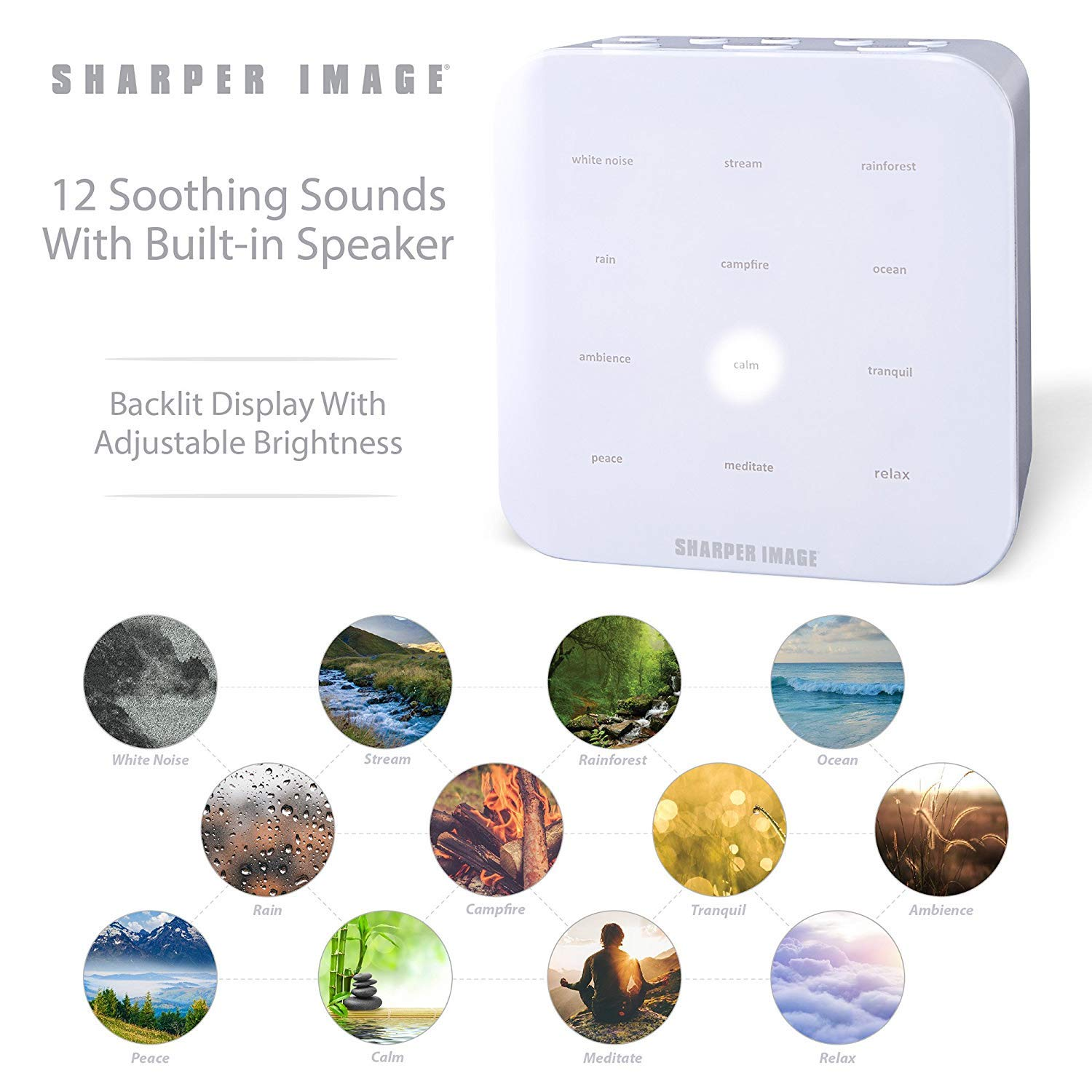 SHARPER IMAGE Ultimate Sleep Sound Machine for Adults & Kids, Soothing  Musical Machine for