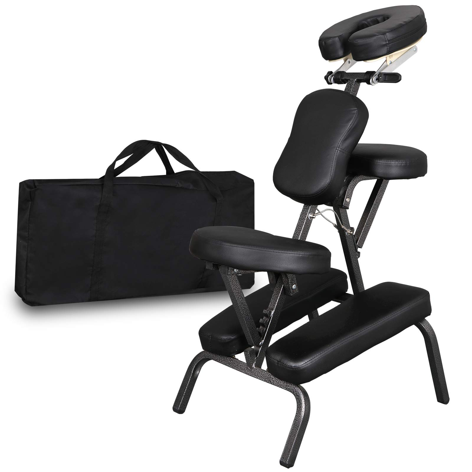 Portable Light Weight Massage Chair Leather Pad Travel Massage Tattoo Spa Chair w/Carrying Bag (#1) (Black) by Nova Microdermabrasion