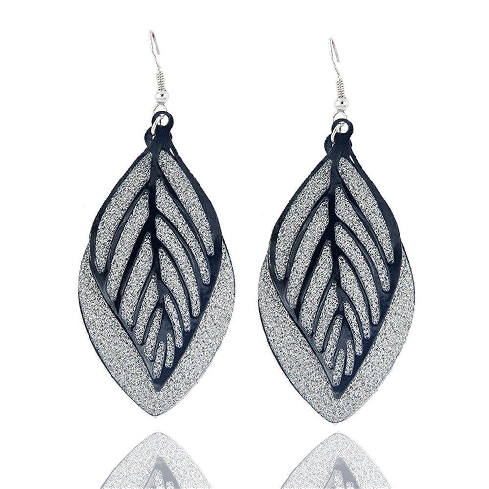 Filigree Leaf Long Drop Earring Ear Hook Bohemian Style Gift For Women Girl