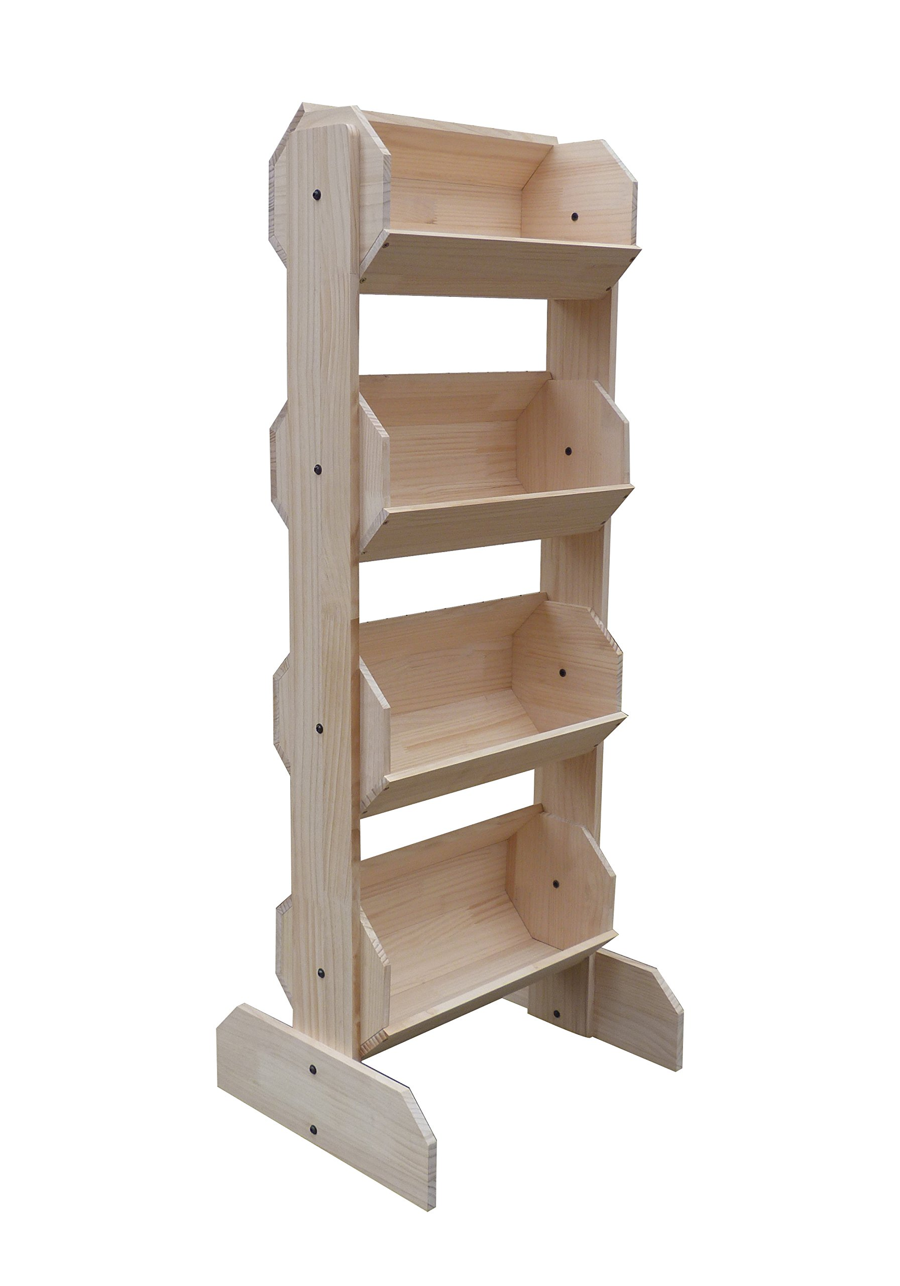 FixtureDisplays 21.0'' x 53.0'' x 17.0'' Tiered Wooden Display, Floorstanding, 4 Bins - Natural Pine 19407