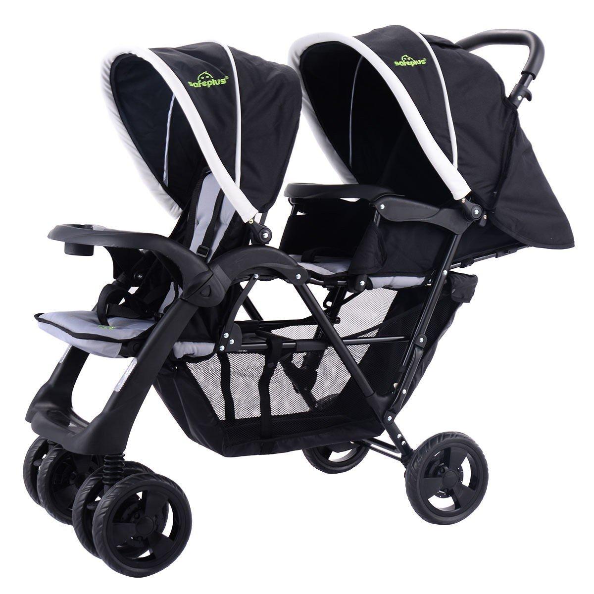 MD Group Kids Pushchair Stroller Foldable Twin Baby Jogger Heavy-duty Steel Frame Double Stroller