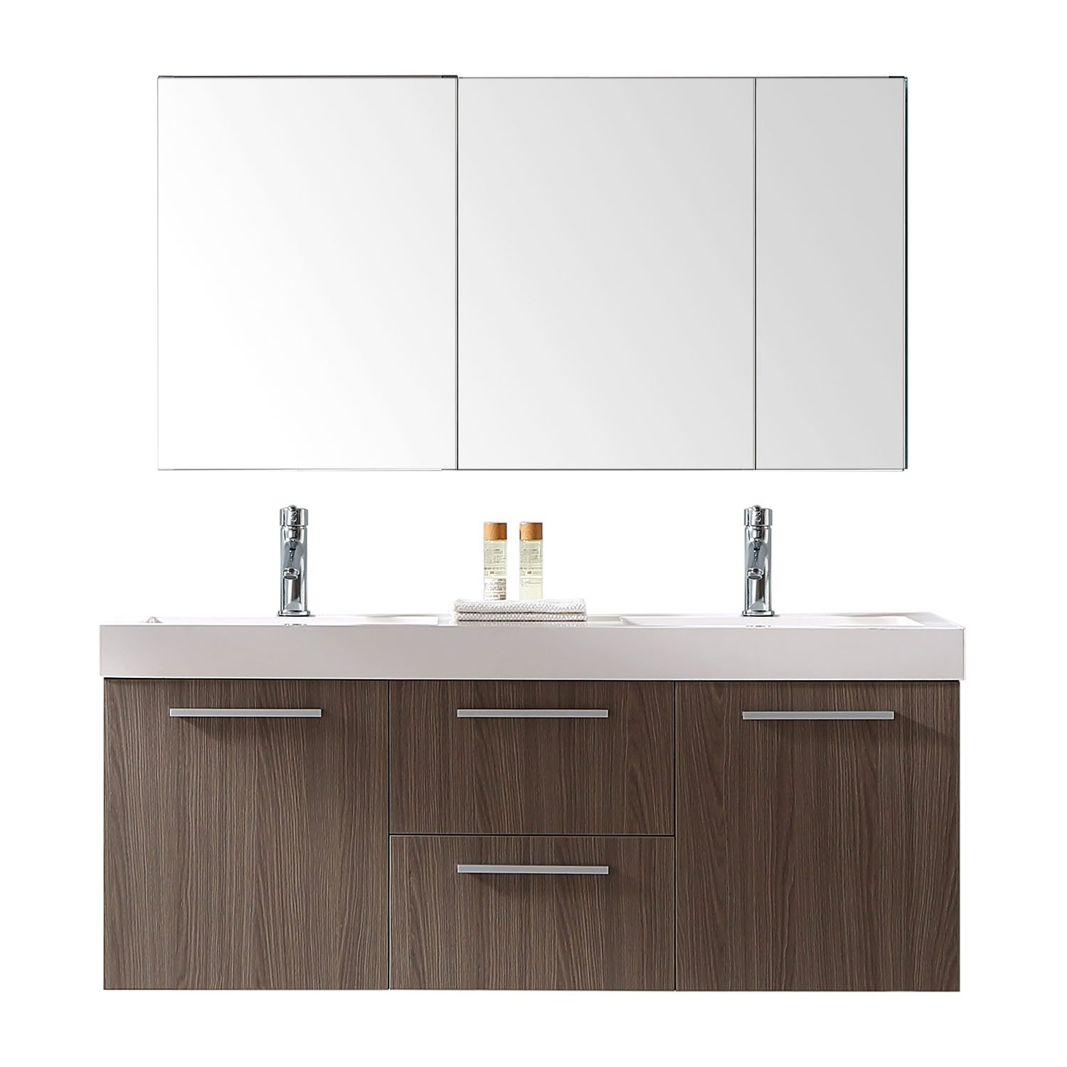Virtu USA JD-50154-GO Midori Double Bathroom Vanity with White Polymarble Top/Square Sink with Polished Chrome Faucet, 54'', Grey Oak