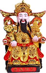 ART PARK CAI Shen Statue, Caishen, Wencaishen, God of Fortune, God of Wealth, Zhao CAI, Feng Shui Decor, Feng Shui Gift, Chinese New Year Gift (Gold 12 Inches)
