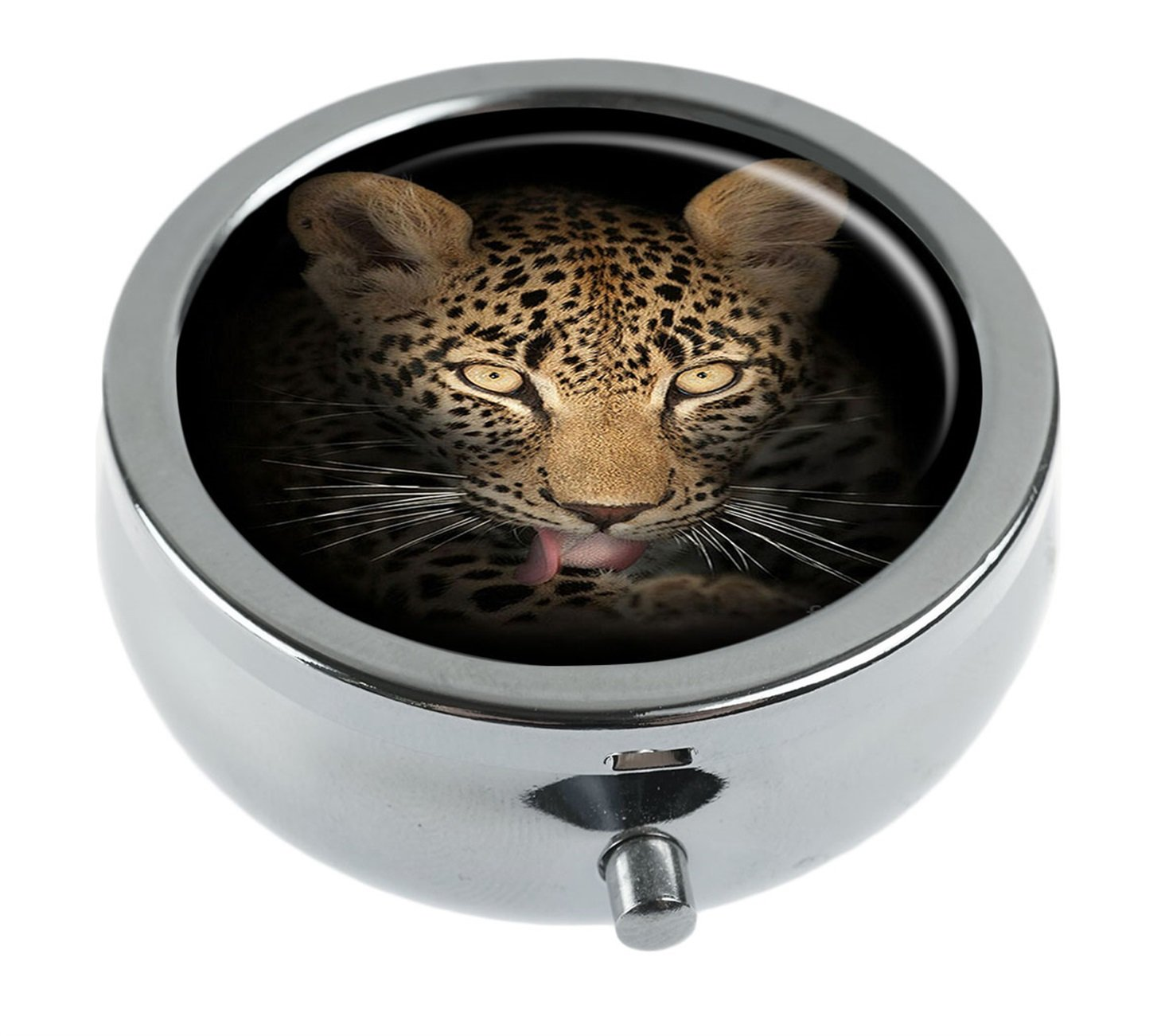 Hiuyi Leopard In The Dark Custom Personalized Round Pill Box Pocket Wallet Travel Pill Vitamin Decorative Box Protector