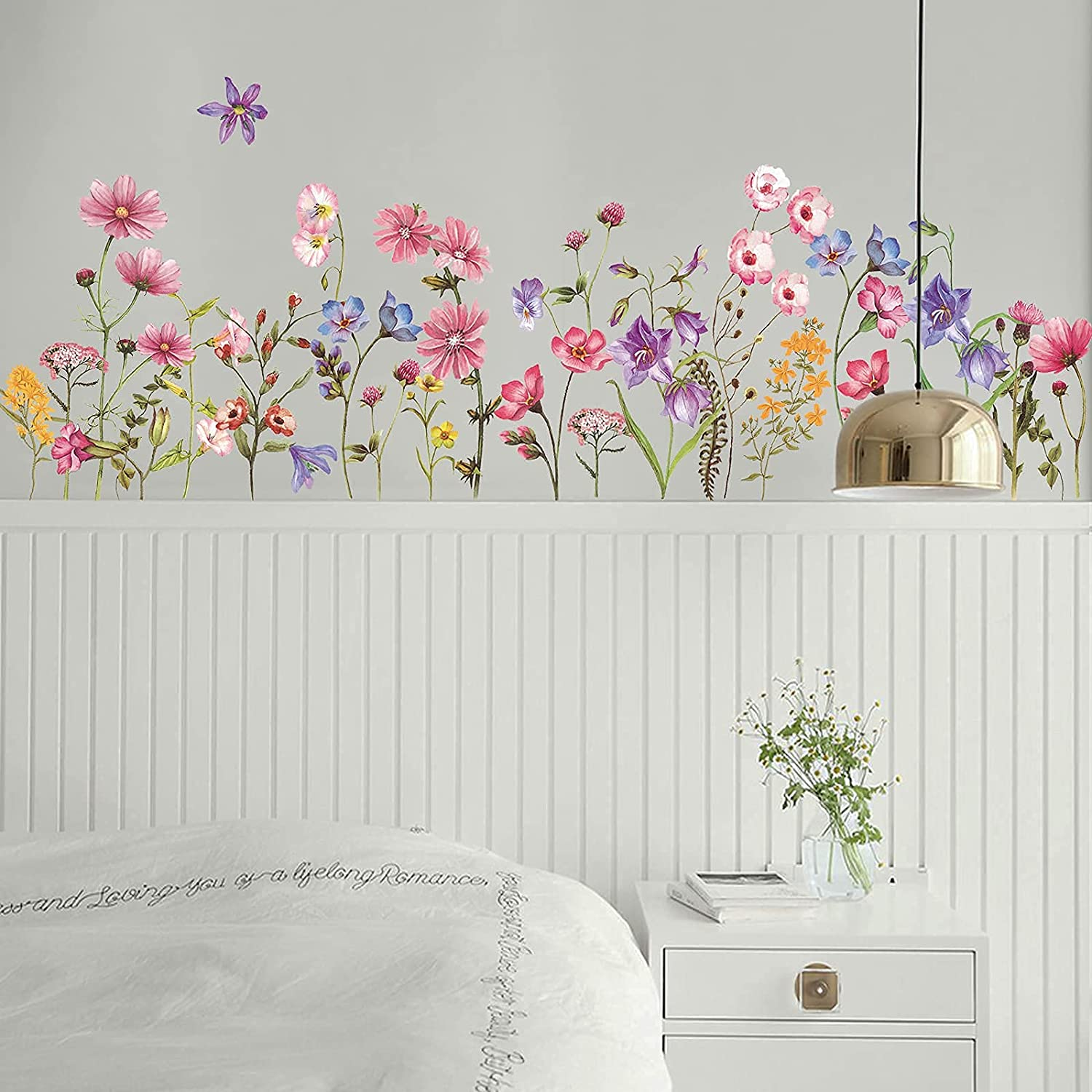 Colorful Flowers Vine Wall Stickers Spring Garden Floral Wall Decals Removable DIY Peel and Stick Art Murals for Bedroom Living Room Nursery Classroom Kids Room Bathroom Home Decoration(Flower)