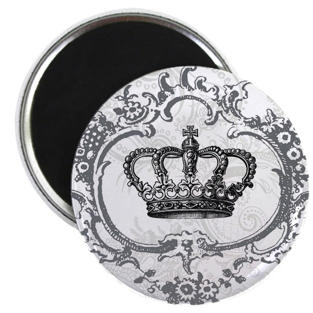 """CafePress - Vintage French Shabby Chic Crown - 2.25"""" Round Magnet, Refrigerator Magnet, Button Magnet Style"""