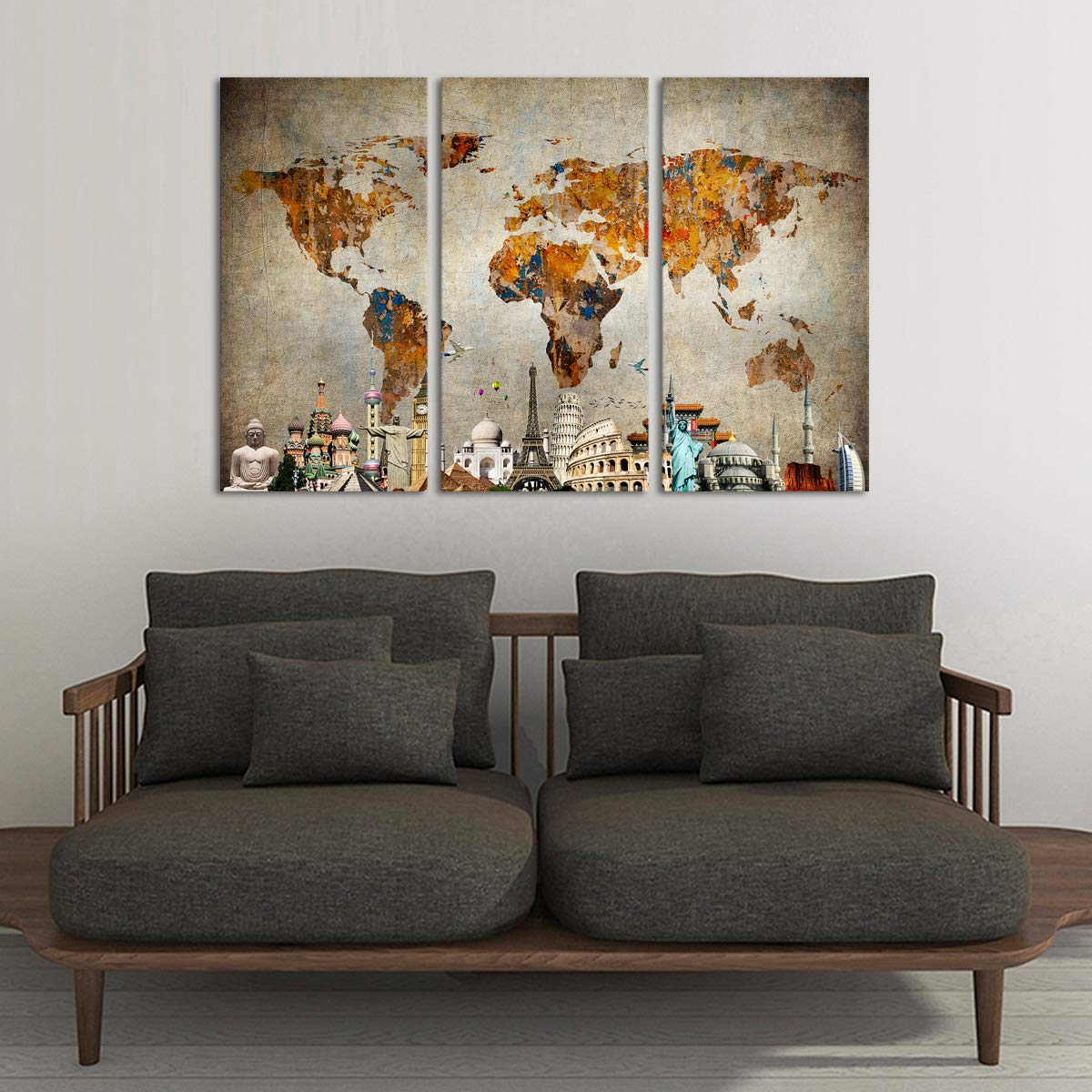 """Grunge World Map Monuments Canvas Wall Art - Ready to Hang - Large Wonders of the World Artwork Hanging Print for Home Office, Living Room, Bedroom, Kitchen, Bathroom - Made in USA - 3 Panel 47"""" x 30"""""""