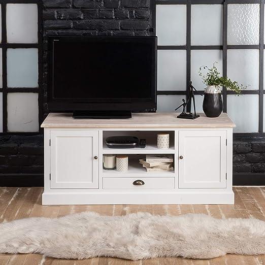 Mueble TV blanco, Bandeja Madera | fcj02: Amazon.es: Hogar