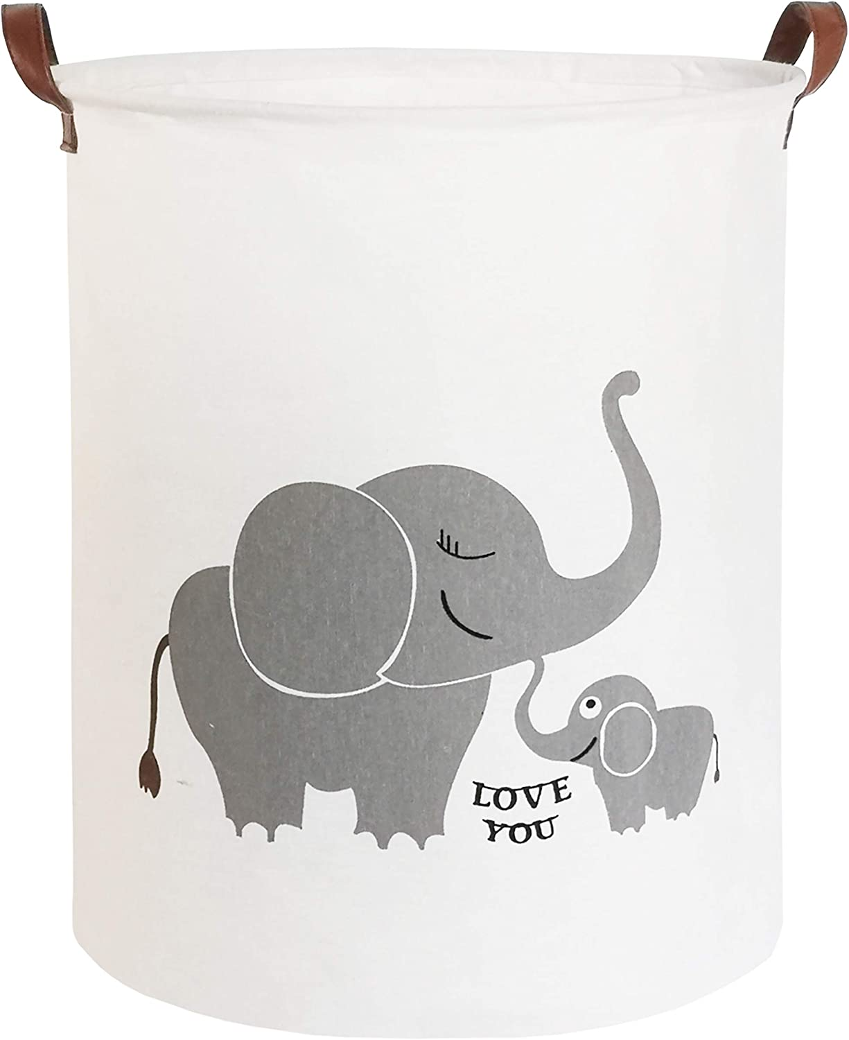 CLOCOR Collapsible Round Storage Bin/Large Storage Basket/Clothes Laundry Hamper/Toy Storage Bin (Love Elephant)