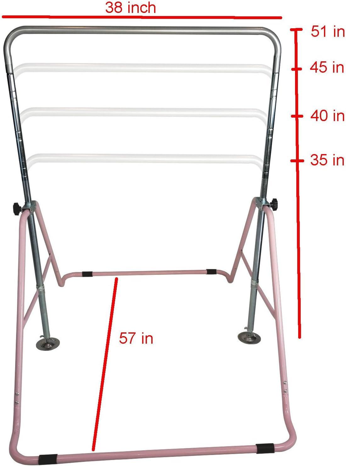 Max Load 170LBS TTwake Gymnastics Bar for Kids with Swing Seat Set Adjustable Height Folding Gymnastic Junior Training Bar Children Monkey Horizontal Bars