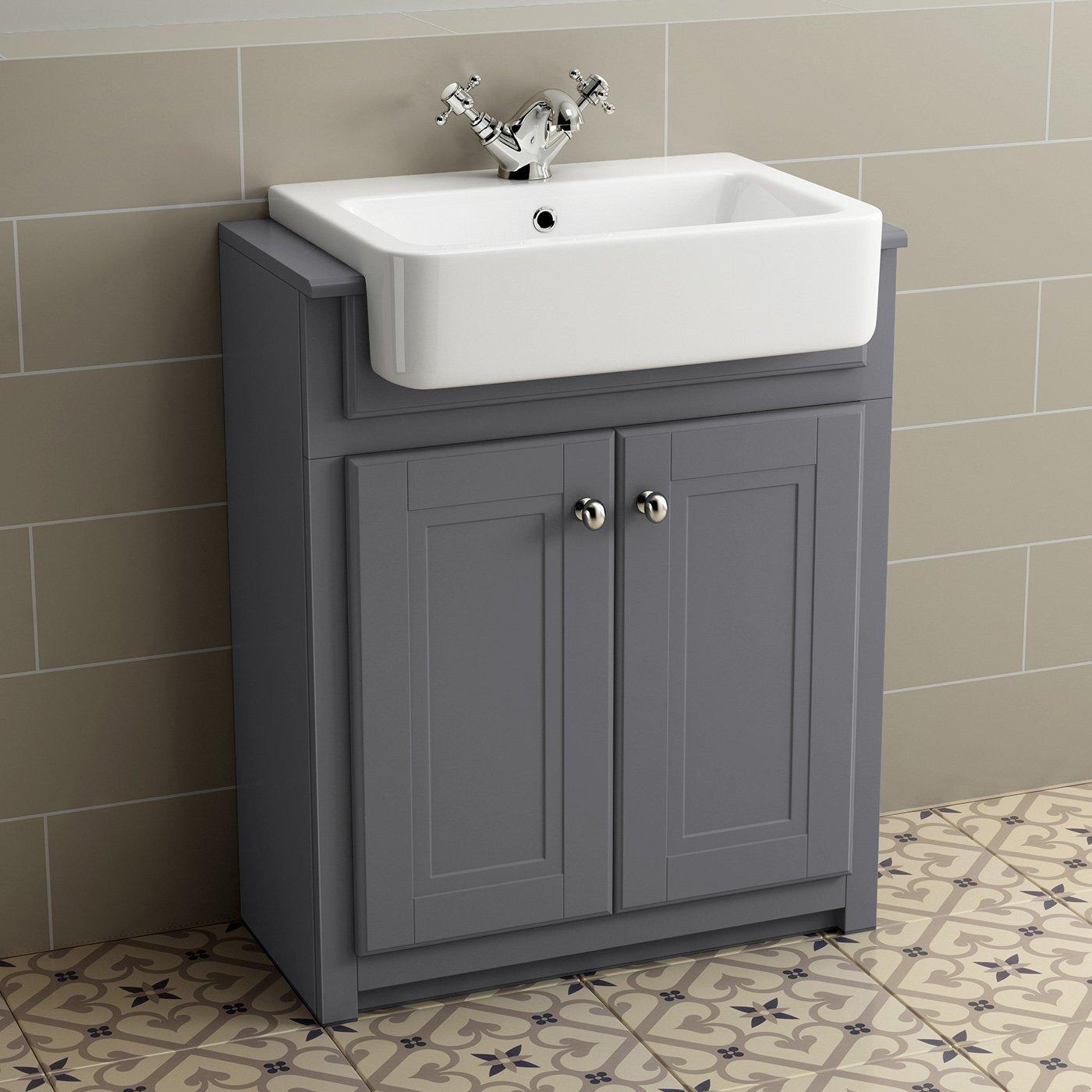 bathroom vanity sink units. 830mm Grey Basin Vanity Cabinet Bathroom Storage Furniture Deep Sink  Cupboard Unit Traditional Floorstanding Smooth Ivory