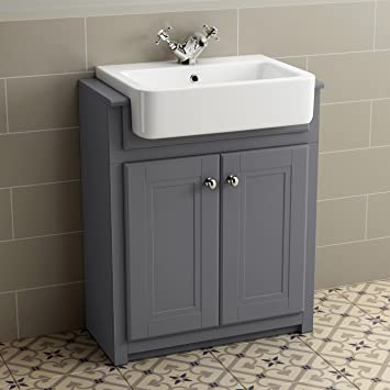 830mm Grey Basin Vanity Cabinet Bathroom Storage Furniture Deep Sink  Cupboard Unit