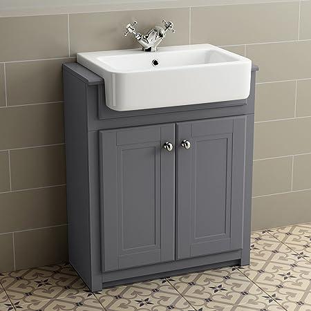 830mm Grey Basin Vanity Cabinet Bathroom Storage Furniture Deep Sink  Cupboard Unit
