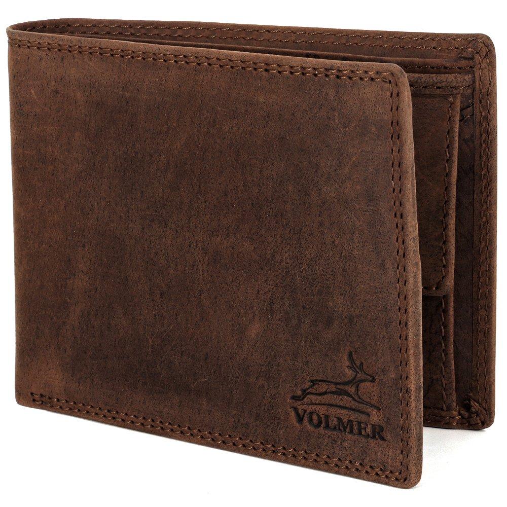 Schlanke Echtleder-Geldbörse Besonders bequem einfach und Extra stabil RFID Schutz #Easycomfort (Grau-Braun) grau#braunn