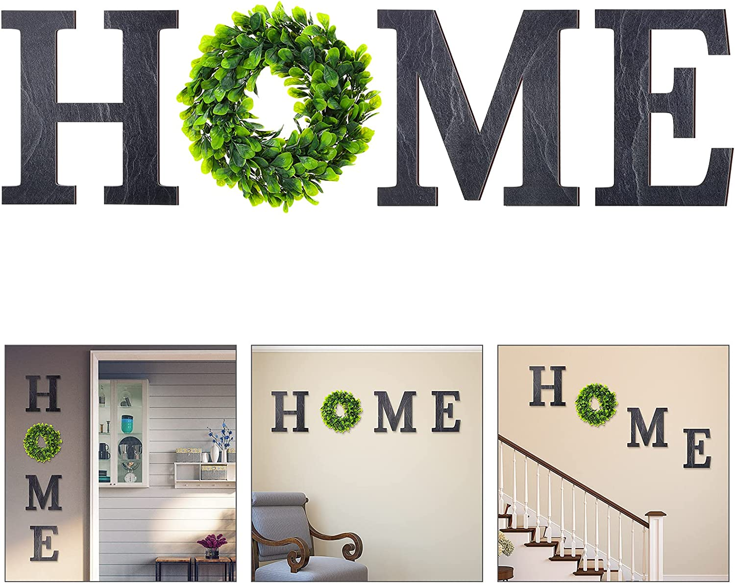 Wooden Home Sign with Green Wreath Flower, Wall Hanging Decor 11.8 Inch Home Decorative Sign Rustic Wooden Letters Decor for Living Room Kitchen Entry Way Housewarming Decoration