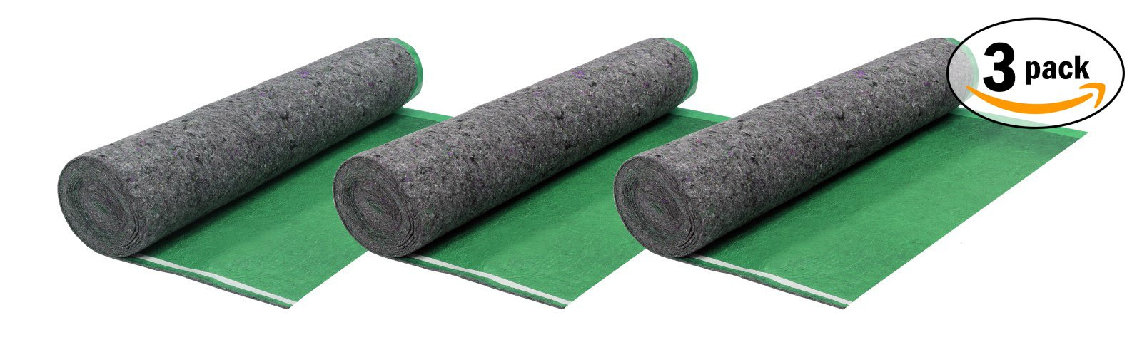 AMERIQUE Super Quiet Walk FELT Underlayment Heavy Duty Padding with Vapor Barrier & Tape, Perfect for Hardwood, Bamboo, Floating Floors & Laminate, BRIGHT GREEN, Pack Of 3