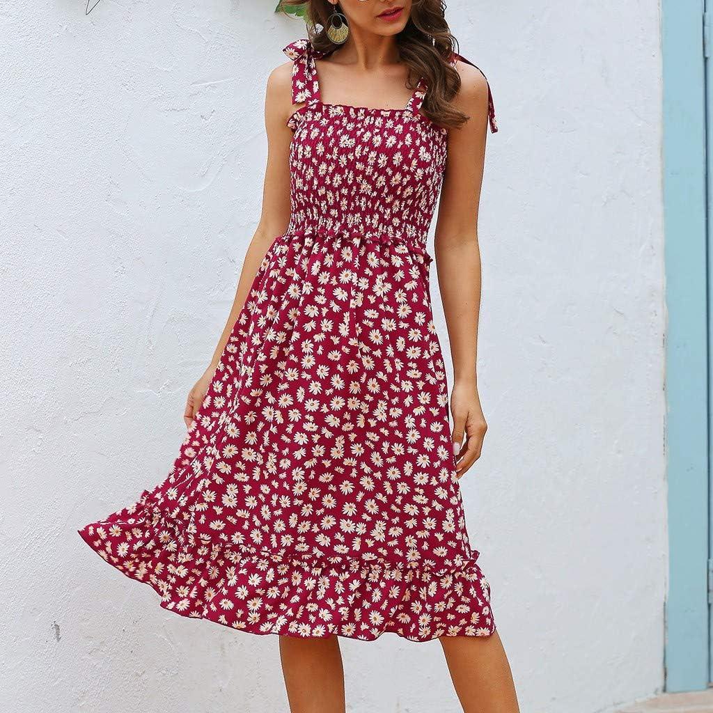 HCFKJ Fungus Sleeveless Strapless Floral Print Sling Casual Mini Spring Boho Dress Womens Skirt Red Black S-XL