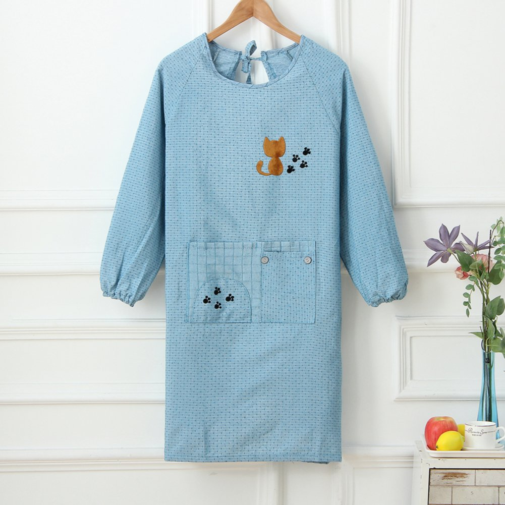 KIM DECO Smock Overalls Apron With long sleeve Cotton Kitchen Women Crew-neck Pockets-C 73x93cm(29x37inch)