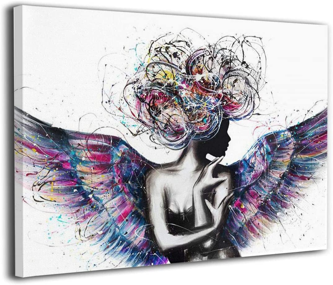 IOPLKJ African American Wall Art Abstract Black Girl with Angel Wings Black Art Pictures for Living Room Modern Home Decor, Stretched Ready to Hang
