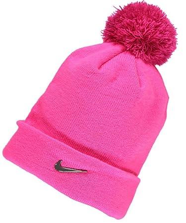 Nike Girl's Swoosh Pom Beanie (4/6X, Hyper Pink/Vivid Pink)