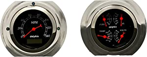 Dolphin Gauges Compatible with 1951 1952 Ford Truck 3 3/8 Gauge Quad Style Dash Panel Insert Set Programmable Black