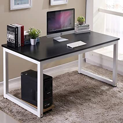 office study desk design 63inch computer office desk with black tabletop and white leg large writing study amazoncom