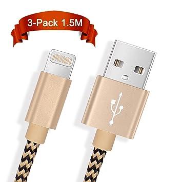 Froggen - Cable cargador USB para iPhone (pack de 3 unidades ...