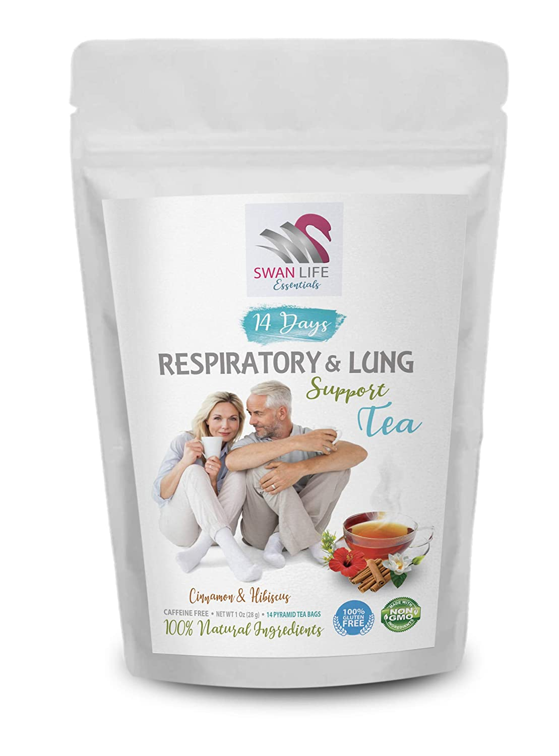 tea for respiratory health – caffeine free - RESPIRATORY & LUNG SUPPORT TEA by SWAN LIFE ESSENTIALS – 14 Days respiratory balance tea - Cinnamon & Hibiscus Natural Flavor