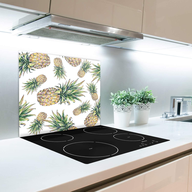 Gr/ün 60x52 cm Tulup Glas Herdabdeckplatte Ceranfeldabdeckung Spritzschutz Glasabdeckplatte Kochplattenabdeckung und Schneidebrett Einteilig Essen /& Getr/änke Ananas