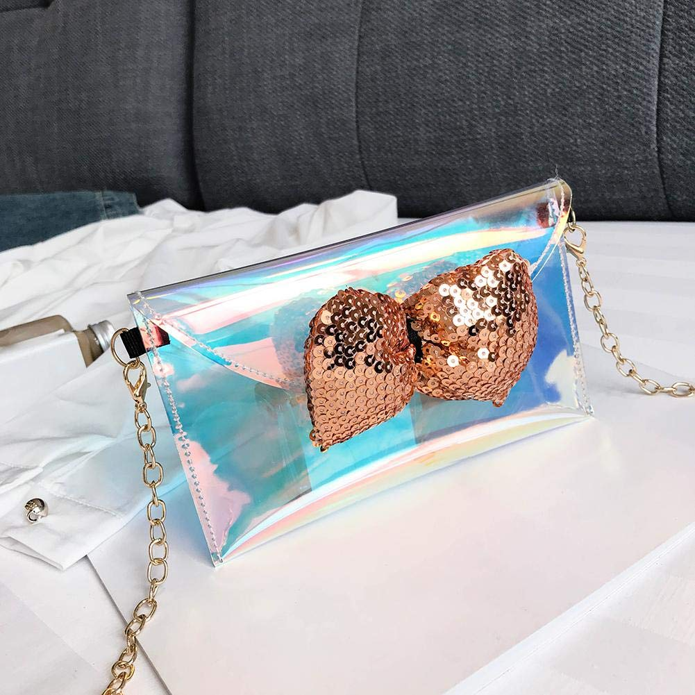 Women Shoulder Bag Laser PVC Jelly Tote Print Messenger Bag Silver Small by newzeroin