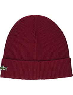 c256868b5 Lacoste Men's Classic Wool Ribbed Knit Beanie, Baobab, One Size at ...