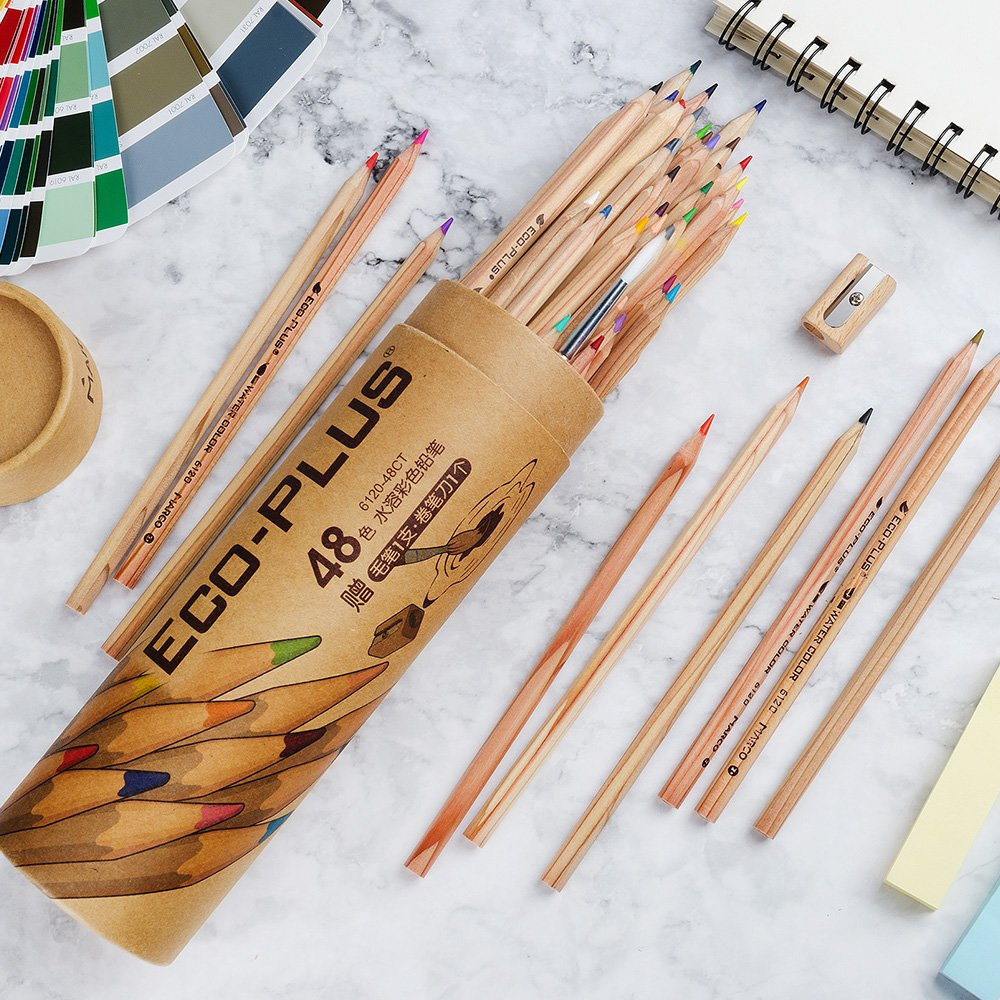 Students Set of 48 colors Coloring Pencils with Blending Pen Great for Artist Environmental friendly Beginners Adults Marco Watercolor Pencil Art Kit Water Soluble Colored Pencils