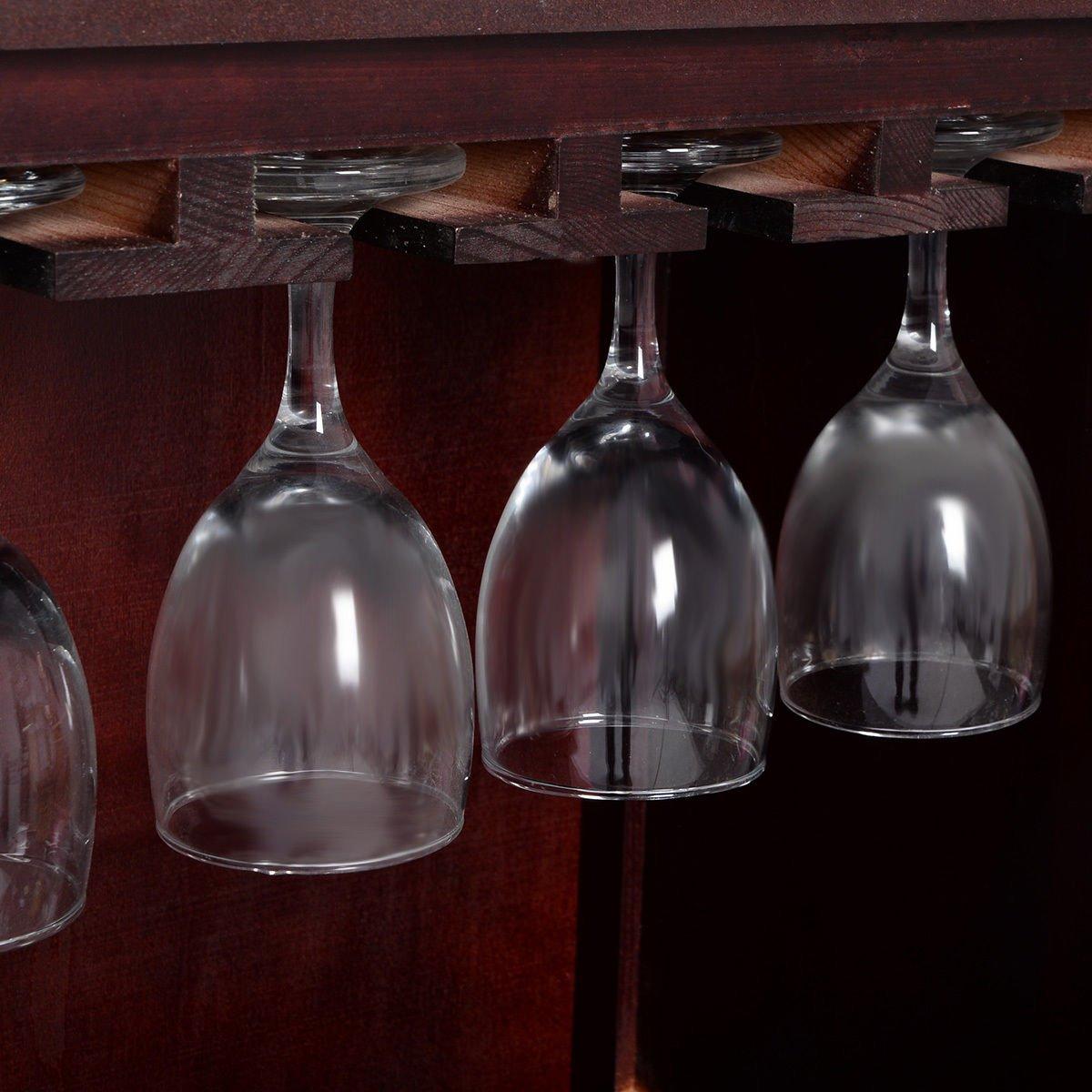 New Wine Wooden Cabinet Bottle Holder Storage Kitchen Home Bar w/ Glass Rack by Unknown (Image #5)