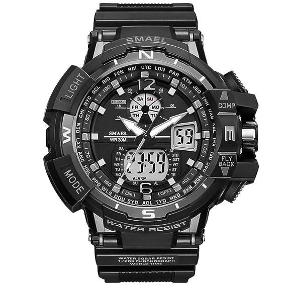 PAPAKOO Reloj de Pulsera Hombre Reloj Deportivo Militar Reloj Smart Moda Reloj de Pulsera Reloj Pulsera Digital LED-Grey-WCH1376-GY: Amazon.es: Relojes