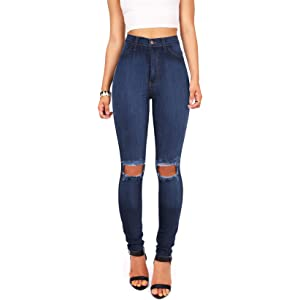 8704faebb Ripped Knee Super High Waisted Skinny Jeans in Light Blue at Amazon ...