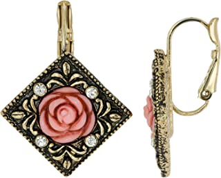 product image for 1928 Jewelry Gold Tone Antiqued Carved Dark Pink Rose And Crystal Accent Leverback Vintage Drop Earrings