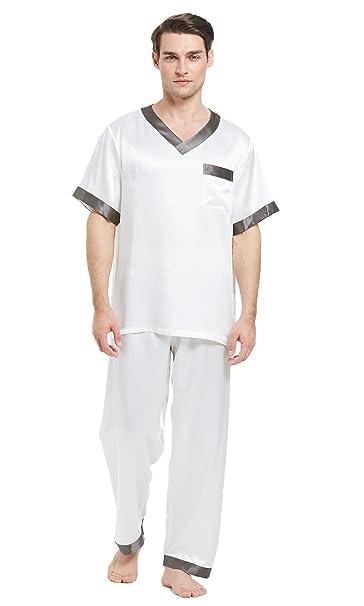 LILYSILK Conjunto de Pijama Hombre 100% Seda Natural de 22 Momme Colores Contrastes, Blanco
