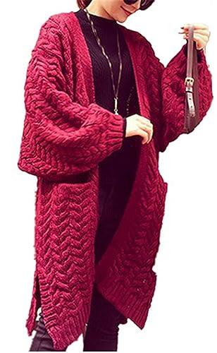 Cardigan de Mujer YOGLY Cardigan Suéter de Largo de Mujeres, Chaqueta de Punto Suéter Chaqueta Bolsi...