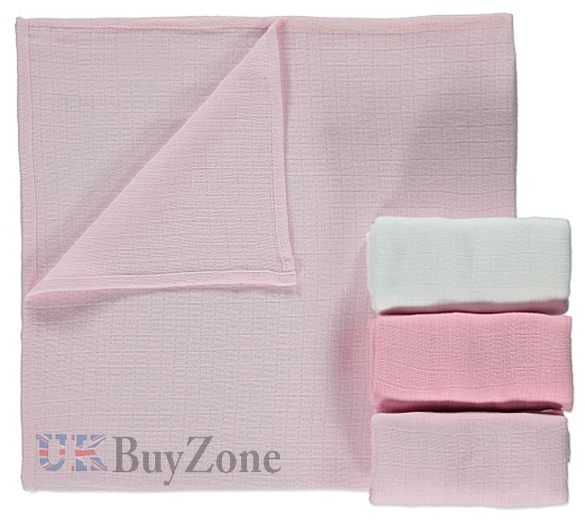 2 Packs of 3, Pink Baby Muslin Squares Cloth 100/% Cotton Reusable Nappy Bibs Wipes Burp Cloths