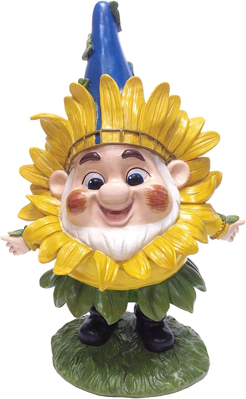 DIG Benny with Sunflower Mask Garden Statue, 12 by 8.25-Inch