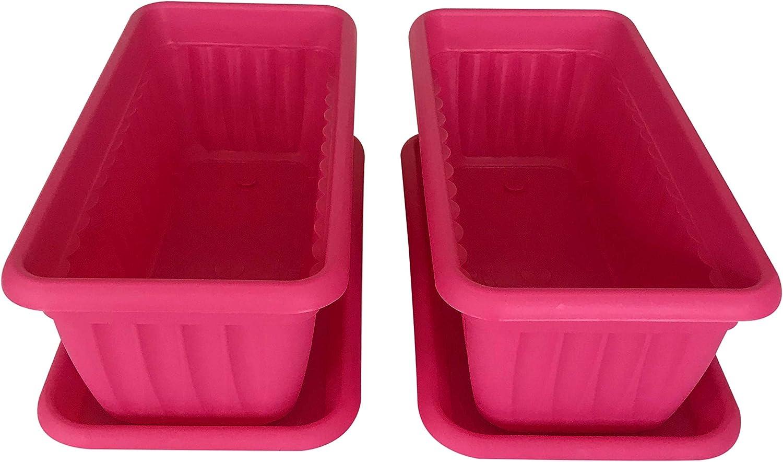 Premium High-Density Plastic Planter Denise 13.8 Set of 2 Units Pink